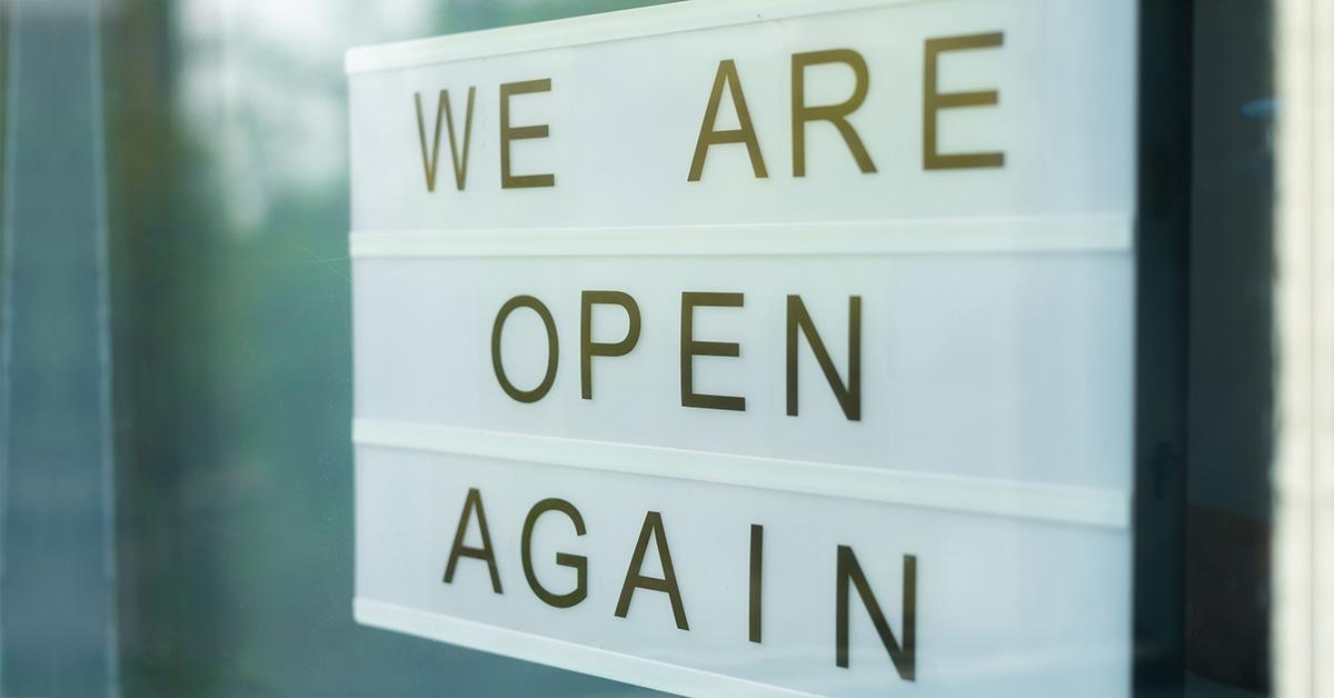 We are open again sign